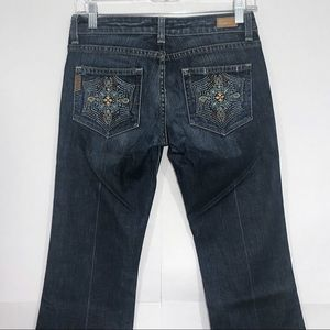 PAIGE Laurel Canyon Boot Embroidered Pockets Jeans